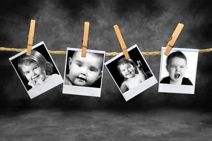 Photos noir et blanc, souvenirs de famille